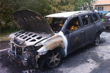 Очаг возгорания автомобиля